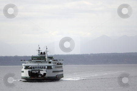 Wenatchee Washington State Ferry stock photo, July 22, 2008:   The Wenatchee Washington State Ferry heading from Bainbridge Island makes it's way towards the Seattle terminal in Seattle, Washington. by Jesse Beals