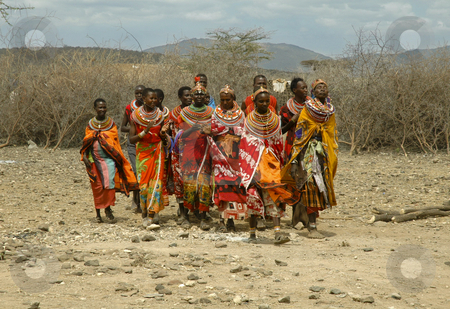 People singing in colourful clothes stock photo, People singing in colourful clothes in Kenia by Ichi Photo