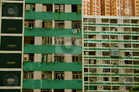 Apartment Blocks in Hong Kong stock photo, Densely populated apartments in Hnog Kong by Jeff Crowe