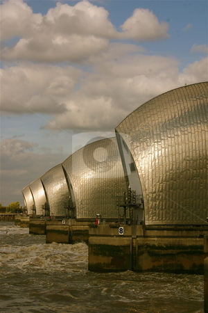 Thames Barrier in Summer stock photo, The Thames Barrier in London, England by Jeff Crowe