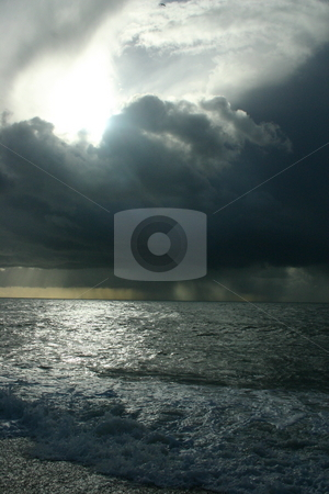 Ocean storm stock photo, Huge clouds over the ocean at the end of a storm by Jeff Crowe