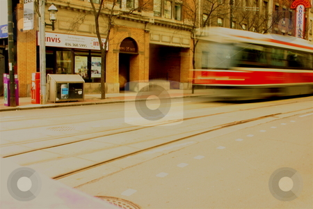 Downtown Streetcar stock photo, A Toronto streetcar driving along King Street by Jeff Crowe