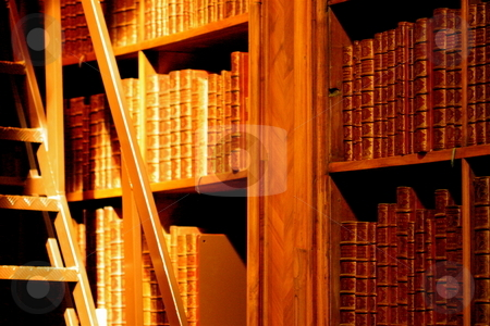 Old library stock photo, An old library with a stepladder and a stream of light by Jeff Crowe