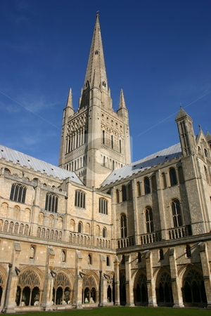 Norwich Cathedral in Spring stock photo, The cloisters and steeple of Norwich Cathedral by Jeff Crowe