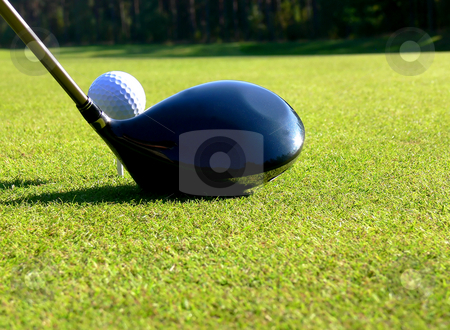 Golf - Tee Off stock photo, Close-up of a driver and a ball on 1st tee by Niklas Ramberg