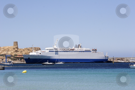 Ferry boat to Corsica in port stock photo, The ferry boat to Corsica in port by Mark Yuill