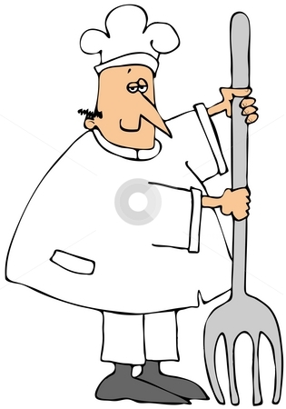 Chef Leaning On A Giant Fork stock photo, This illustration depicts a chef leaning on a giant fork. by Dennis Cox