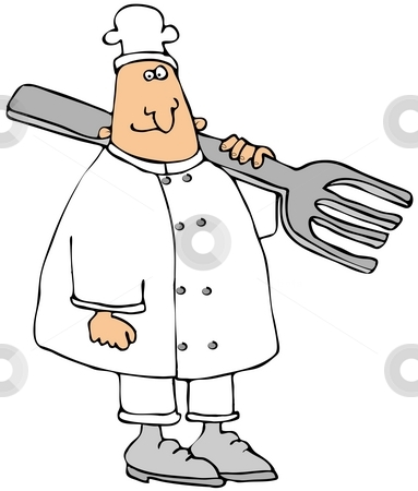 Chef Carrying A Giant Fork stock photo, This illustration depicts a chef carrying a giant fork on his shoulder. by Dennis Cox