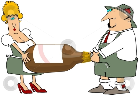 Carrying The Big Beer Bottle stock photo, This illustration depicts a man and woman in Bavarian attire carrying a giant beer bottle. by Dennis Cox