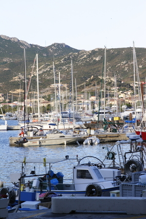 View of Calvi port marina corsica stock photo, Quayside and marina in Calvi corsica by Mark Yuill