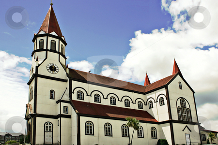 White church stock photo, White church in the city of Puerto Varas in Chile by Rafael Franceschini