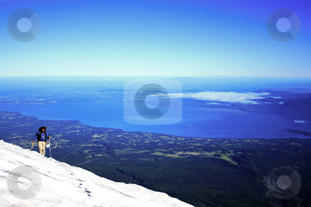 Mountain view from the summit stock photo, Climbing up the Villarrica volcano in south Chile by Rafael Franceschini