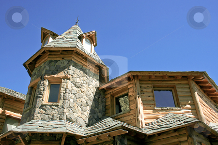 Rock and wood stock photo, House made of rock and wood by Rafael Franceschini