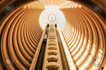 Elevator stock photo, Panoramic elevator in the interior of a hotel by Rafael Franceschini