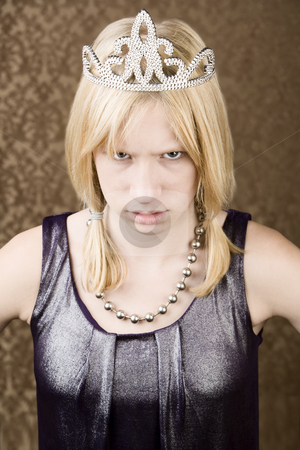 Angry girl in a tiara stock photo, Angry teenage girl wearing a tiara by Scott Griessel