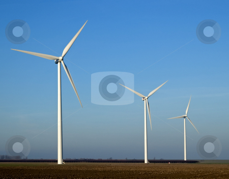 Electricity mills stock photo, Three mills for wind energy in landscape by Wino Evertz