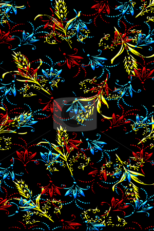 Flower background stock photo, Texture of red, blue and yellow flowers on black background by Wino Evertz