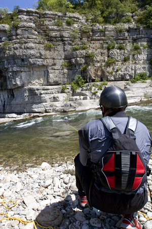Kayak paddlers practising river rescues stock photo, Kayak paddlers practising river rescues on moving water by Mark Yuill