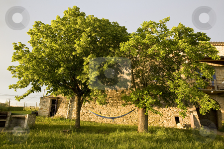 Hammock in trees and old stone farmhouse france stock photo, A hammock in trees and old stone farmhouse france by Mark Yuill