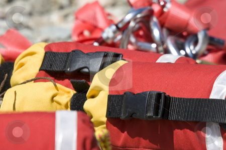 River rescue throw lines  stock photo, Detailed view of river rescue throw lines by Mark Yuill