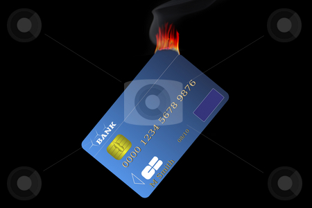 Credit card stock photo, Credit card burning and changing money in smoke... by Serge VILLA