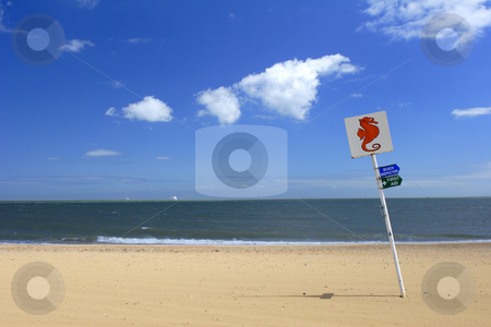 Beach sign stock photo, Sign on beach by Mark Yuill
