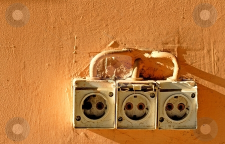 Power socket stock photo, Old power socket by Mark Yuill
