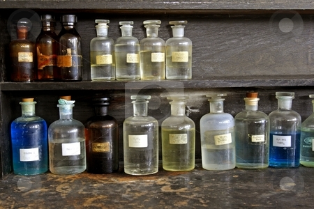 Laboratory glass stock photo, Laboratory glassware by Mark Yuill