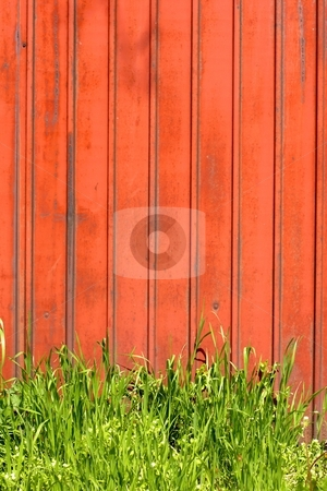 Red fence stock photo, Red fence with plants by Mark Yuill