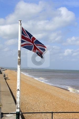 British flag stock photo, Flag on british beach by Mark Yuill