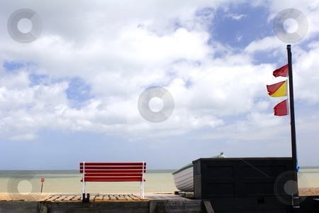 Bench and flags stock photo, Bench with a view by Mark Yuill