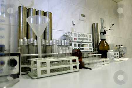 Laboratory equipment for testing dairy products stock photo, Laboratory equipment for testing dairy products by Mark Yuill