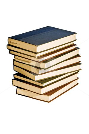 Big stack of books. stock photo, Plenty of reading here. Isolated with a clipping path. by RCarner Photography