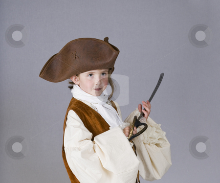 Little girl pirate stock photo, A little girl dresses as a pirate for Halloween by RCarner Photography