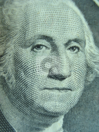 George Washington                                stock photo, Macro shot of George Washington on one dollar bill. by Todd Dixon