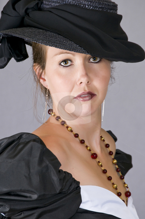 Period style clothing  stock photo, Turn of the century clothing on a young woman by RCarner Photography