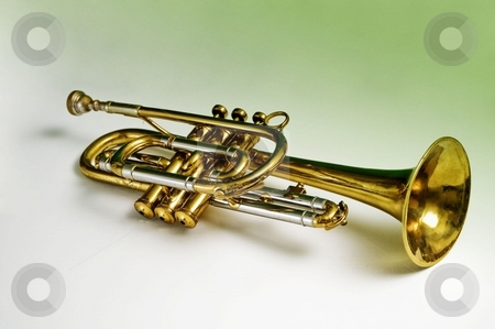 Trumpet on gradient background stock photo, I created a white to green gradient background to blend in with the green reflections in the horn from the original setting. by RCarner Photography