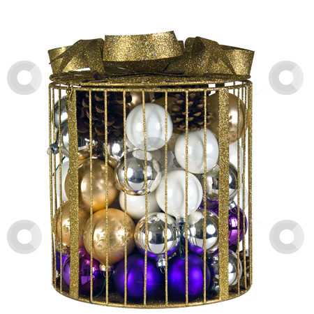 Cage of Christmas decorations stock photo, A gold colored cage filled with christmas tree balls. by RCarner Photography