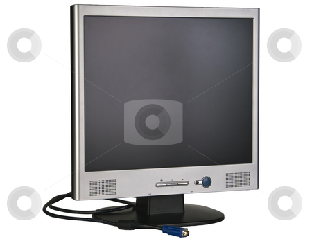 Flatscreen monitor isolated with a clipping path stock photo, A flatscreen computer monitor and cable by RCarner Photography