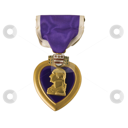 An American Purple Heart isolated with a clipping path stock photo, Awarded for being wounded in action. Isolated with a clipping path by RCarner Photography