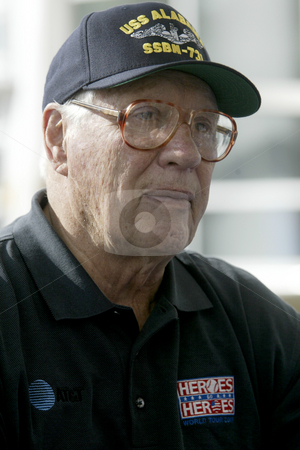 Bob Feller  stock photo, August 6, 2003 :  Major league baseball hall off famer Bob Feller visited Naval  Hospital Kitsap with fellow major leaguers on the heroes world tour talking to military troops in Bremerton, Washington. by Jesse Beals