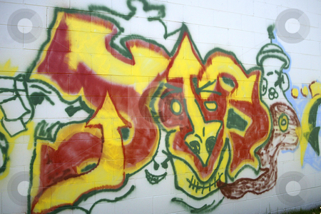 Gang Graffiti  stock photo, March 8, 2004 : A large gang graffiti design was spotted behind Target in Port Orchard Washington.  Gang graffiti is starting to show up in neighbor hoods around the state. by Jesse Beals