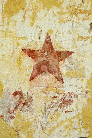 Star on wall stock photo, Star on wall by Mark Yuill