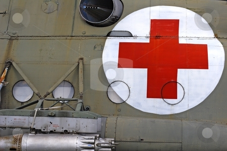 Red cross stock photo, Red cross on helicopter fuselage by Mark Yuill