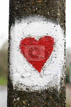 Painted love heart stock photo, Painted love heart on lamp post by Mark Yuill