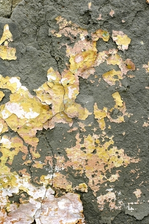 Faded peeling paint stock photo, Faded peeling paint on wall by Mark Yuill