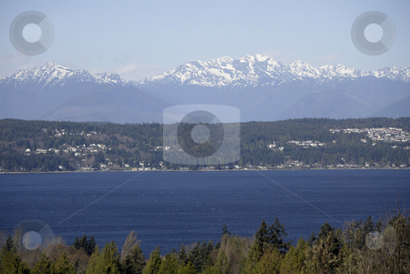 The Brothers Mountains stock photo, March 17,2004:  The Brothers Mountains overlooking Dyes Inlet showed off snow tops during a brisk cold day in March in Bremerton, WA. by Jesse Beals