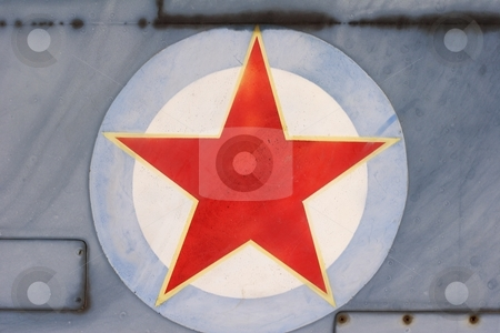 Red star stock photo, Red star painted on aircraft by Mark Yuill