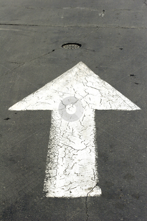 White arrow stock photo, White arrow on road by Mark Yuill