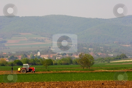 Farm land stock photo, Rural landscape farmland by Mark Yuill